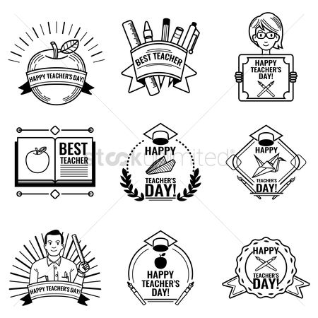 Thankful : Set of happy teacher s day design icons