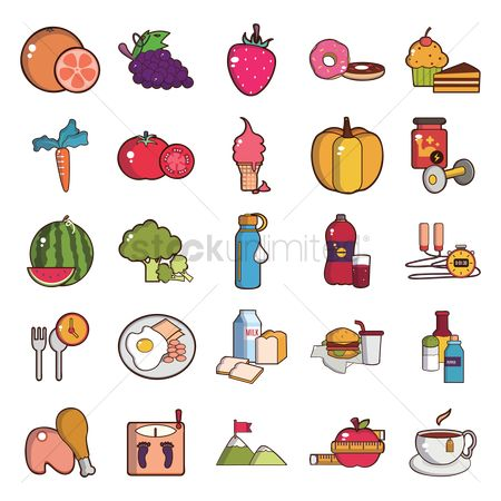 Fruit : Set of health icons