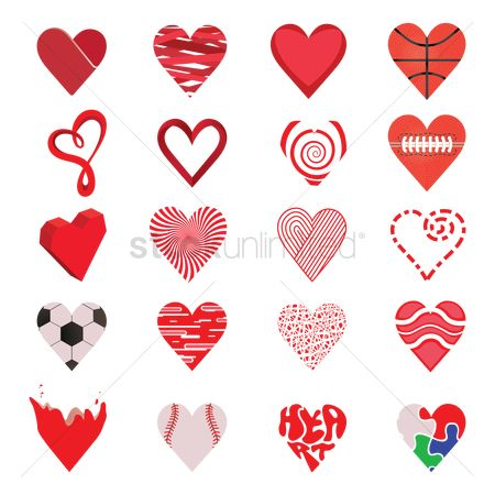Footballs : Set of heart icons