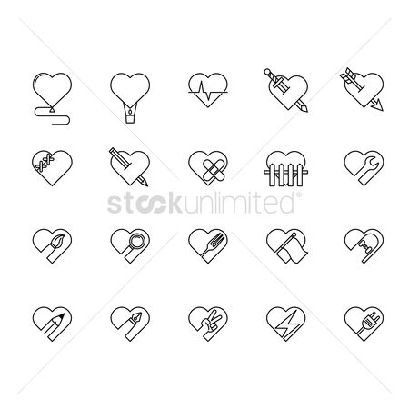 Magnifying : Set of heart icons