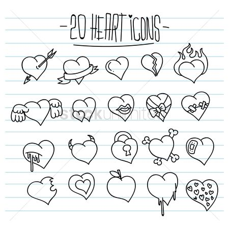 Cross : Set of heart icons