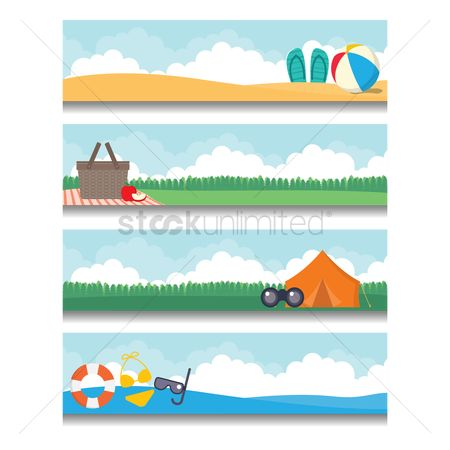 Tents : Set of holiday banners