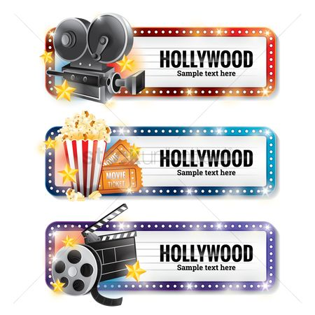 America : Set of hollywood banners