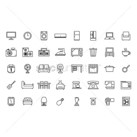 Stove : Set of home appliance icons