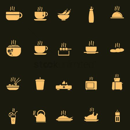 Take away cup : Set of hot food icons