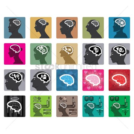 Beer mug : Set of human brain icons