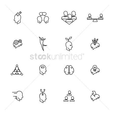 Mindset : Set of human mind conceptual icons