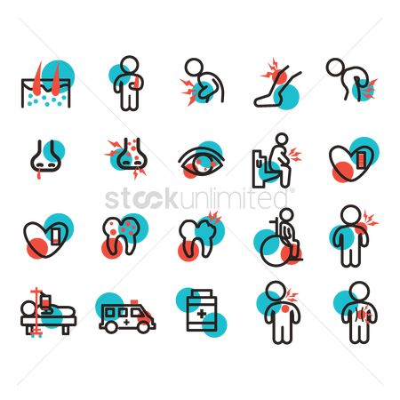 Wheelchair : Set of illness icons