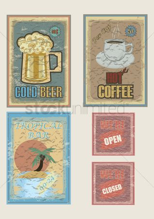 Old fashioned : Set of information sign posters