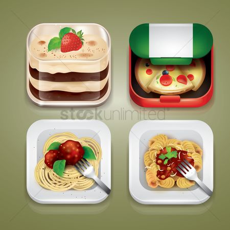 Plates : Set of italian food icons