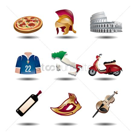Pizzas : Set of italian icons
