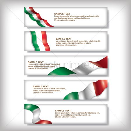 Tricolored : Set of italy flag banners