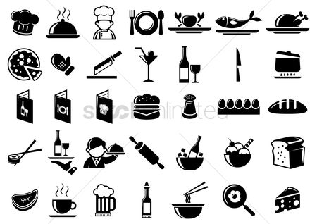 Plates : Set of kitchen and food icons