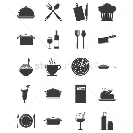 Drinking : Set of kitchen and food icons