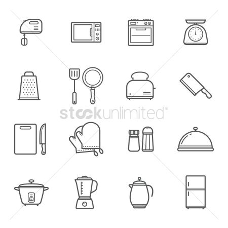 Stove : Set of kitchen appliance icons