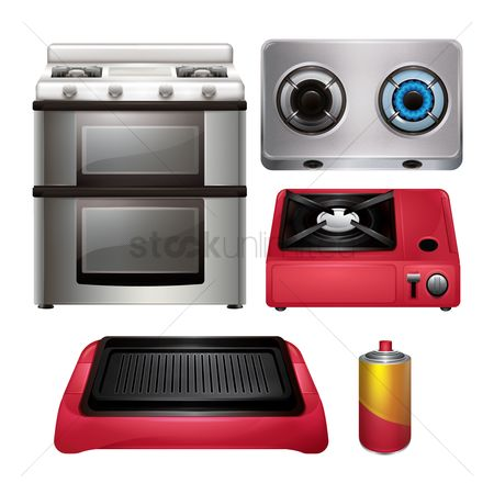 Stove : Set of kitchen equipments