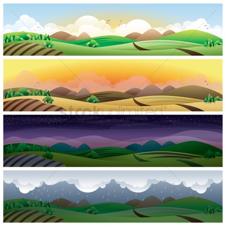 Grass : Set of landscape banners