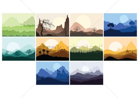 Moon : Set of landscape icons