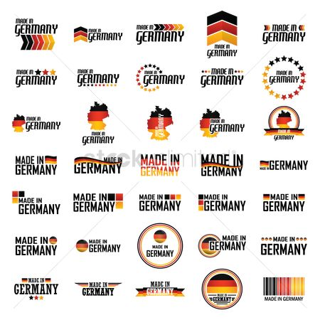 Countries : Set of made in germany label icons
