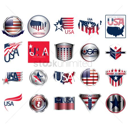 Countries : Set of made in usa icons