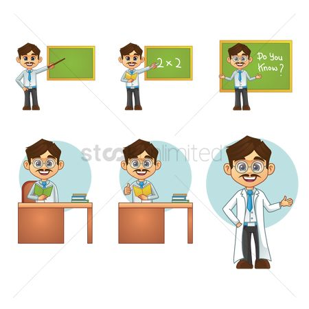 Teaching : Set of male teachers with action