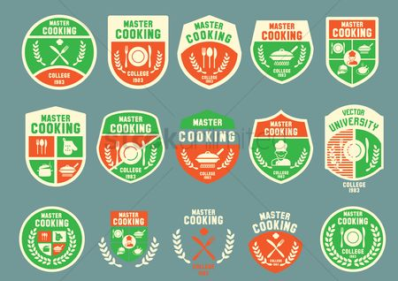 College : Set of master cooking badge design icons