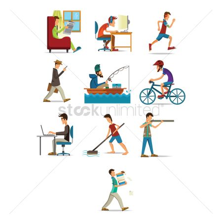 Boxes : Set of men doing different activities