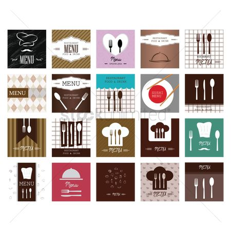 Moustache : Set of menu card designs