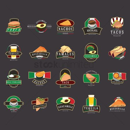 Tricolored : Set of mexican foods