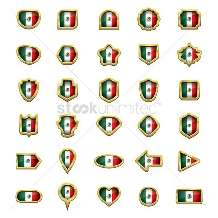 Map pin : Set of mexico flag icons
