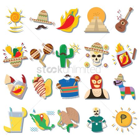 Cactus : Set of mexico icons