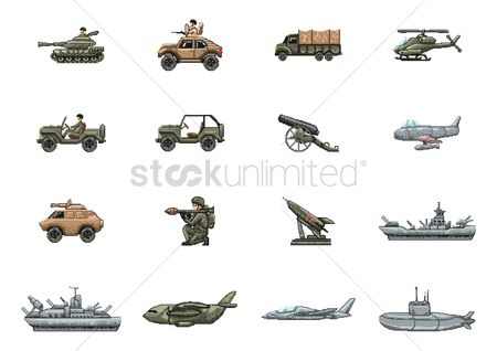 Tanks : Set of military vehicle and weapons