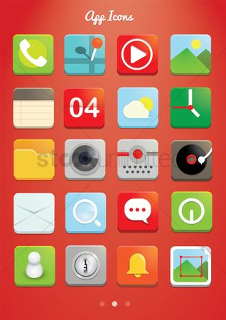 Power button : Set of mobile application icons