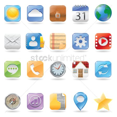 Online shopping : Set of mobile application icons