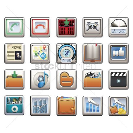 Receivers : Set of mobile application icons