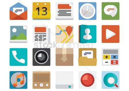 Magnifying : Set of mobile icons
