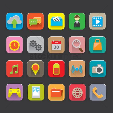 Head : Set of mobile interface icons