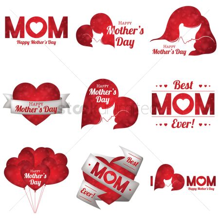 Red : Set of mother s day icons