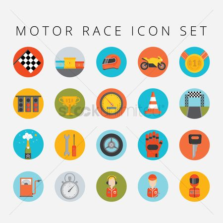 Race : Set of motor race icons