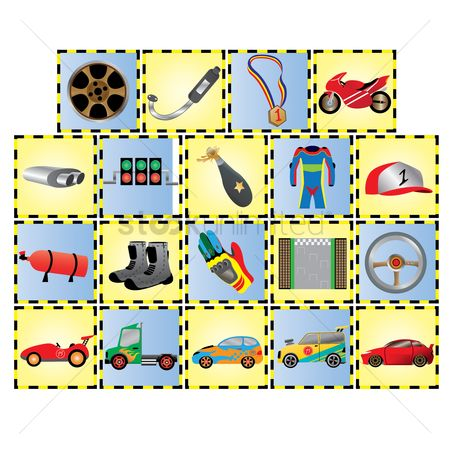 Fire extinguisher : Set of motor race icons
