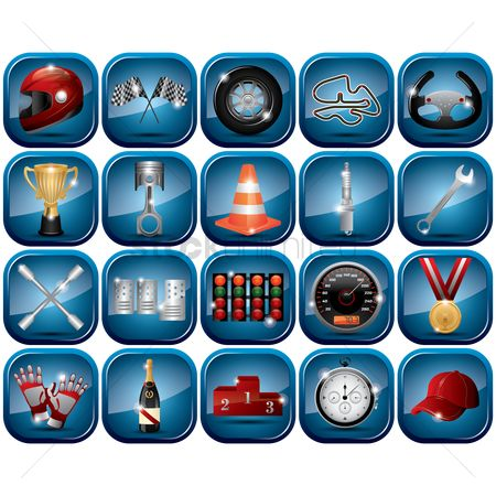Car speedometer : Set of motor racing icons