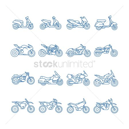 Scooters : Set of motorcycle icons
