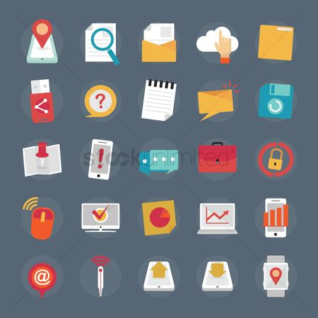 Password : Set of multimedia icons