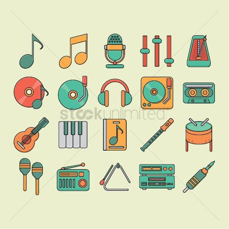 Drums : Set of music icons