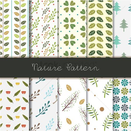 Wallpaper : Set of nature pattern icons