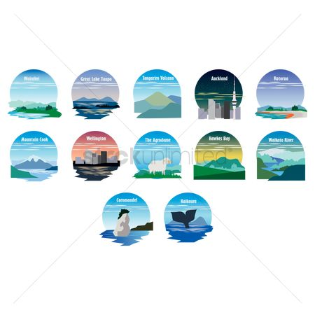 The great lake : Set of new zealand destinations icons