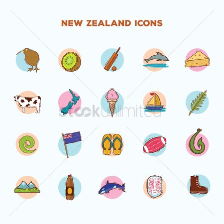 Dairies : Set of new zealand icons