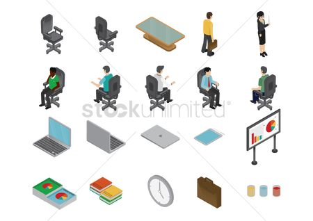 Tablet : Set of office icons