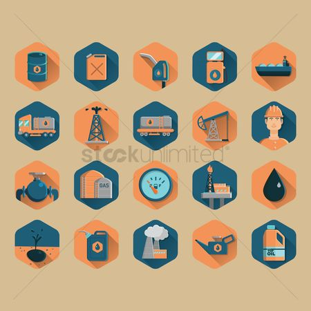 Petroleum : Set of oil and gas icons