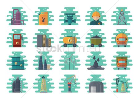Container : Set of oil and gas icons